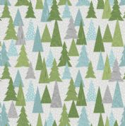 Lewis & Irene - Hygge Christmas - 5986 - Pine Trees, Green & Aqua on Grey C30.1 - Cotton Fabric